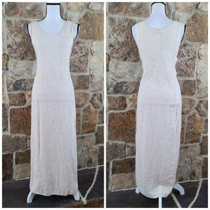 FLAX Linen Lagenlook Sleeveless Boho Maxi Dress S